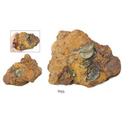 Large clump of over a dozen English East India Co. copper X cash of 1803 embedded in impacted mud th