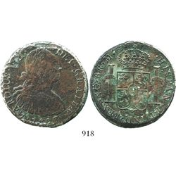Clump of two Spanish colonial bust 8 reales of Charles IV, one with 1807 date visible and the other