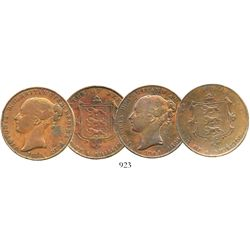 Lot of 2 Jersey (Channel Islands) copper 1/13 shillings, Victoria, dated 1844 and 1858.