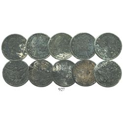 Lot of 5 USA (Philadelphia and New Orleans mints), Barber quarters, all dated 1904, encrusted as fou