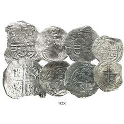 Lot of 4 Mexico City, Mexico, silver cobs from shipwrecks: 8R Philip IV (probably Concepcion [1641])