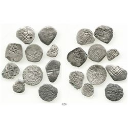 "Lot of 10 miscellaneous small silver cobs (including one ""pistareen"") from various wrecks, including"