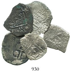 "Lot of 5 miscellaneous cob 2 reales from well-known wrecks, as follows: ""Rill Cove"" (ca. 1618), Atoc"