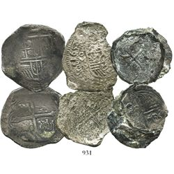 Lot of 4 cobs from various wrecks: clump of two Philip II 4R (one Mexico, one Potosi) from an uniden