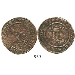 Mexico City, Mexico, copper 4 maravedis, Charles-Joanna,  Late Series,  king's name as CHAROLVS.