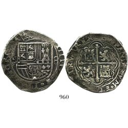 Mexico City, Mexico, cob 8 reales, Philip II, assayer F.