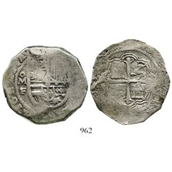 Mexico City, Mexico, cob 8 reales, Philip III, assayer F below oM mintmark to left, GRATIA in legend