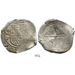 Mexico City, Mexico, cob 8 reales, Philip IV, assayer P, with small chopmarks as from circulation in