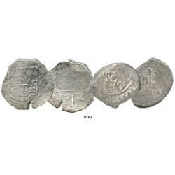 Lot of 2 Mexico City, Mexico, cob 8R from shipwrecks: Philip III, assayer D (wreck unknown); and Phi