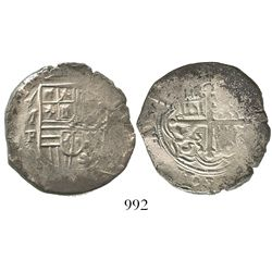 Mexico City, Mexico, cob 4 reales, Philip II, assayer F below oM mintmark to left.
