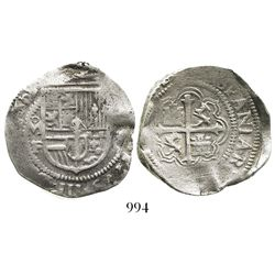 Mexico City, Mexico, cob 4 reales, 1610/09F, very rare.