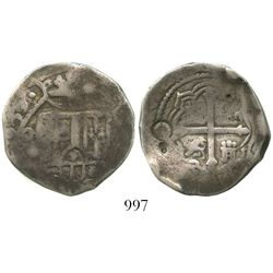 Mexico City, Mexico, cob 4 reales, (1)650/49(P), rare, with punchmark and countermarks on reverse as