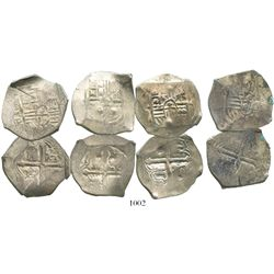 Lot of 4 Mexico City, Mexico, cob 4 reales, Philip IV, assayer P (where visible), with chopmarks and