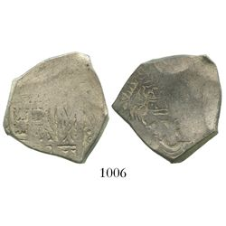 Mexico City, Mexico, cob 4 reales, Charles II, obverse struck with 8R die, rare.