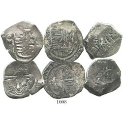 Lot of 3 Mexico City, Mexico, cob 4 reales of Philip III, IV and V, assayers F, P and J respectively