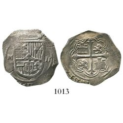 "Mexico City, Mexico, cob 2 reales, Philip III, assayer F (pre-1607), rare with no ""o"" above the M in"