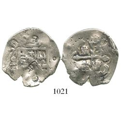 Mexico City, Mexico, cob 2 reales, (16)31(D), bold date (very rare), with chopmarks as from circulat