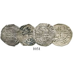 Lot of 2 Mexico City, Mexico, cob 1R, Philip II, assayers O (oMO to left and O to right) and F (oMF
