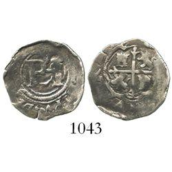 Mexico City, Mexico, cob 1/2 real, Philip II, no assayer or mintmark, very rare.