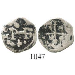 Mexico City, Mexico, cob 1/2 real, Philip III, assayer D below mintmark oM to left.