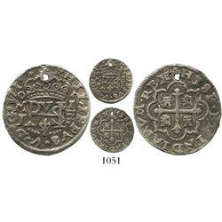 Mexico City, Mexico, cob 1/2 real Royal, 1719J, rare.