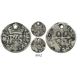 Mexico City, Mexico, cob 1/2 real Royal, 1722J, rare.