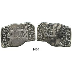 Mexico City, Mexico, cob-style klippe 8 reales, 1733F, rare single-letter assayer.