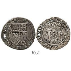 Lima, Peru, cob 2 reales, Philip II, assayer Rincon, motto as PL-VSV-TR, obverse legend ending in HI