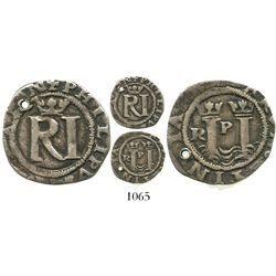Lima, Peru, cob 1/2 real, Philip II, assayer Rincon, legends ending in -SPAN and -RVM.