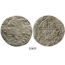 Lima, Peru, cob 4 reales, Philip II, assayer Diego de la Torre, *-4 to left and P-oD to right.