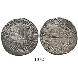 Lima, Peru, cob 2 reales, Philip II, assayer Diego de la Torre, P-ii to left and oD-* to right.