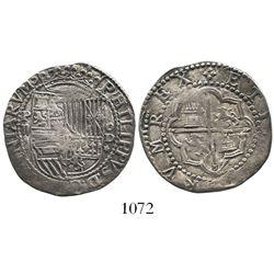 Lima, Peru, cob 2 reales, Philip II, assayer Diego de la Torre, P-ii to left and oD-* to right.