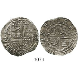 Lima, Peru, cob 2 reales, Philip II, assayer Diego de la Torre, *-ii to left and P-oD to right.