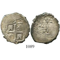 Lima, Peru, cob 2 reales, 1687/6R, rare, ex-Mark Bir.