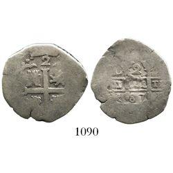 Lima, Peru, cob 2 reales, 1687R.