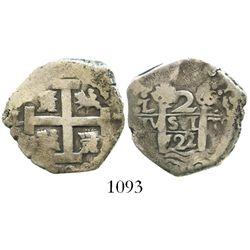 Lima, Peru, cob 2 reales, 1722/1M, rare overdate.