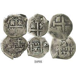 Lot of 3 Lima, Peru, cob 2 reales: 1694M, 1727M and 1743V.