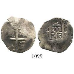 Lima, Peru, cob 2 reales, 1745V.