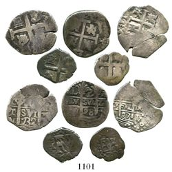Lot of 5 Lima, Peru, small cobs of various periods: 2R 1698H; 1R 1687R and 1732N; and 1/2R 1703 and