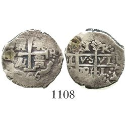 Lima, Peru, cob 1 real, 1706R, re-punched 6.