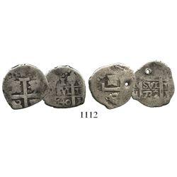 Lot of two Lima, Peru, cob 1R of Philip V: 1732N and 1740V.