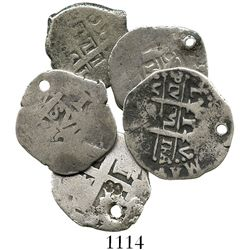 Lot of 5 Lima, Peru, cob 1R, Charles II and Philip V, various dates (where visible).