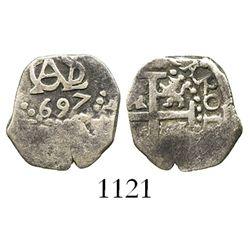 Lima, Peru, cob 1/2 real, 1697.