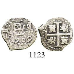 Lima, Peru, cob 1/2 real, 1709.