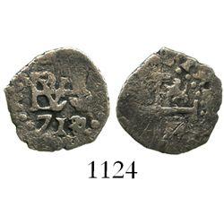 Lima, Peru, cob 1/2 real, 1714/3.