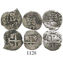 Lot of 3 Lima, Peru, cob 1/2R, Philip V, various dates (1711, 1718 and 172?).