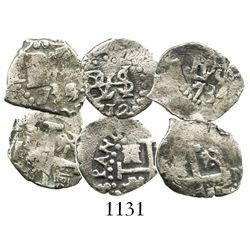 Lot of 3 Lima, Peru, cob 1/2R of Philip V: 1712, 1734N and 1735/4(N).