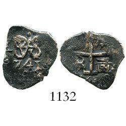 Lima, Peru, cob 1/2 real, 1741(V).
