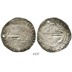 "Potosi, Bolivia, cob 8 reales, Philip II, assayer B (2nd period, ""Great Module"")."