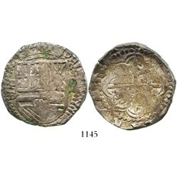 Potosi, Bolivia, cob 8 reales, Philip III, assayer B (5th period), rare with king's ordinal visible,